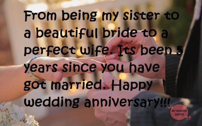 Wedding Anniversary Wishes For Sister